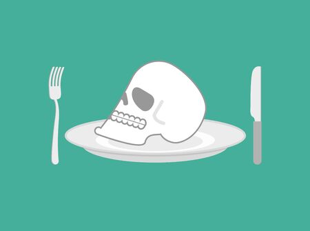 Skull on plate. Head of skeleton on dish. Knife and fork