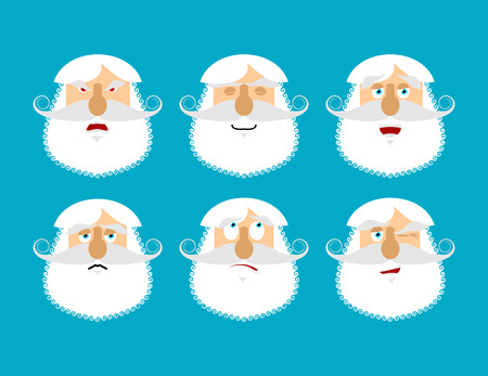 Old man emoji. emotion set. Aggressive and good grandfather face. Surprised and sleep. senior with gray beard avatar collection Illustration