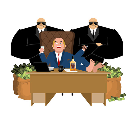 Rich man sits at table and drinks whiskey. To smoke cigar. plutocrat and bag money. Big boss and security. businessman and guards. lot of cash. Office of moneybags