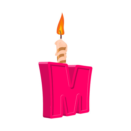 Letter M birthday font. Letter and candle. anniversary alphabet sign. Celebratory ABC Illustration