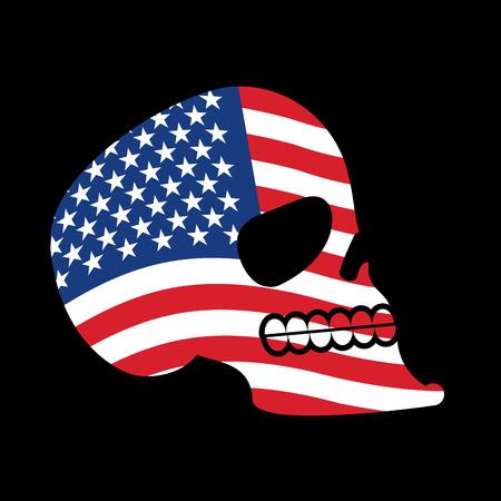 USA skull. Head of skeleton and flag of America. Fun emblem