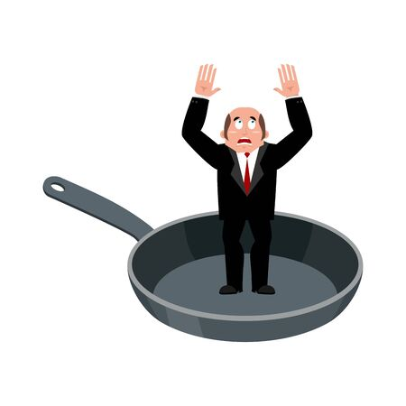 Businessman in frying pan. sinner in cauldron. boss is frying on hellfire. Religion is punishment for sins Illustration