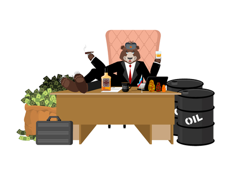 Russian oligarch sits at table and drinks whiskey. To smoke cigar. Rich man and bag of money. Businessman from Russia. Lot of cash. Office of moneybags. barrel of oil