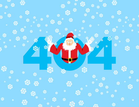 Error 404. Santa Claus is surprise. Page not found template for web site. Christmas grandfather does not know and is surprised. Page lost and found message. problem disconnect