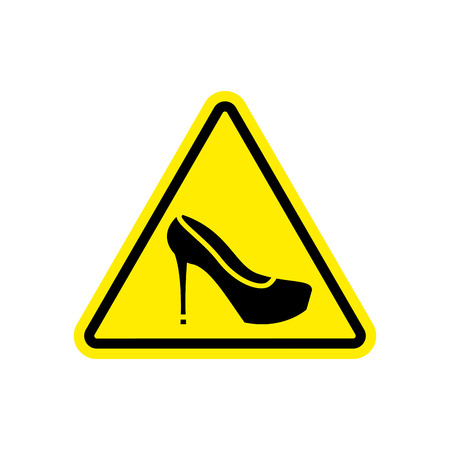 Attention woman. yellow prohibitory road sign womens shoes. Illustration