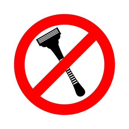 Stop razor. It is forbidden to shave. Razor ban road sign