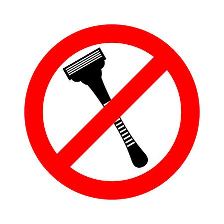 Stop razor. It is forbidden to shave. Razor ban road sign