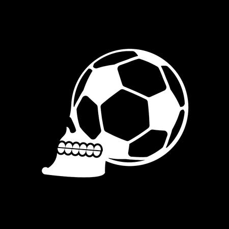 penalty: Soccer ball skull. Football fans emblem. skeleton head. Symbol for sport lover