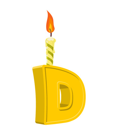 Letter D birthday font. Letter and candle. anniversary alphabet sign. Celebratory ABC Illustration
