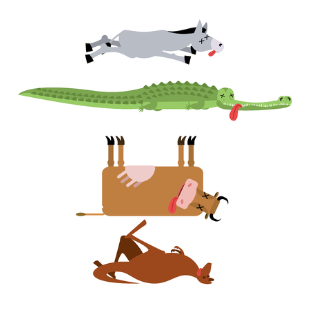 Dead animals set 3. Donkey and crocodile. Cow and kangaroo. animal is death. Corpse of Beast Illustration