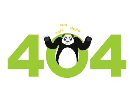 Error 404. panda surprise. Page not found template for website.China bear does not know and is surprised. Page lost and found message. problem disconnect Illustration