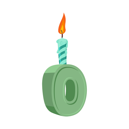Letter O birthday font. Letter and candle. anniversary alphabet sign. Celebratory ABC Illustration