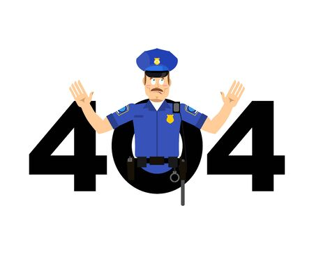 Error 404. Policeman surprise. Page not found template for web site. Cop does not know and is surprised. Page lost and found message. Illustration