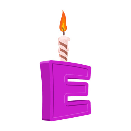 Letter E birthday font. Letter and candle. anniversary alphabet sign. Celebratory ABC