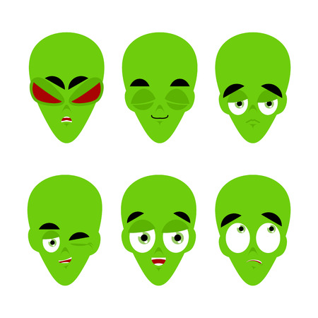 invader: Green alien emoji. emotion set. Aggressive and good UFO face. Surprised and sleep. Space invader avatar collection Illustration