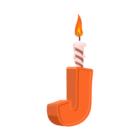 Letter J birthday font. Letter and candle. anniversary alphabet sign. Celebratory ABC