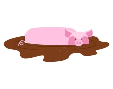 porcine: Pig in mud. piggy dirty puddle. Farm animal piglet