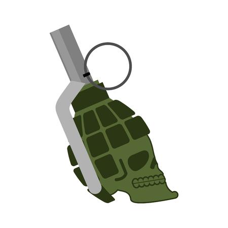Grenade skull. Head skeleton military ammunition. army bomb skull Illustration