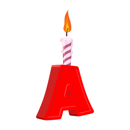 Letter A birthday font. Letter and candle. anniversary alphabet sign. Celebratory ABC Illustration