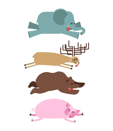 remains: Dead animals set 2. Elephant and deer. Bear and pig. animal is death. Corpse of Beast