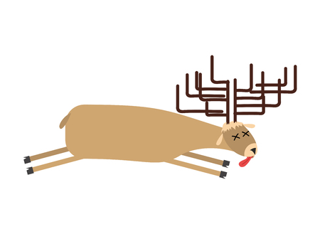 Dead moose. Deer is dead. Corpse of wild beast