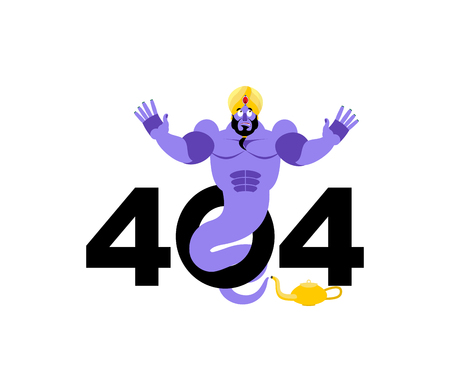 Error 404. Genie surprise. Page not found template for web site. Arabic magic spirit does not know and is surprised. Page lost and found message. problem disconnect