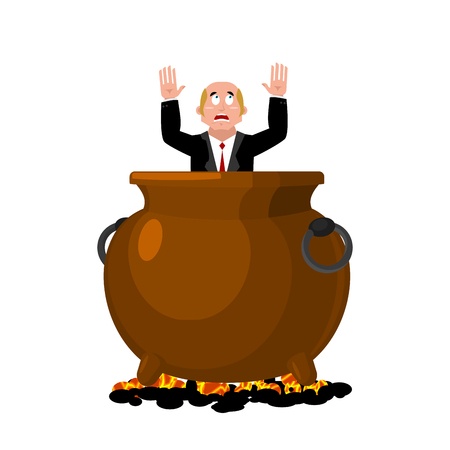 Businessman in infernal cauldron. sinner in frying pan. boss is frying on hellfire. Religion is punishment for sins