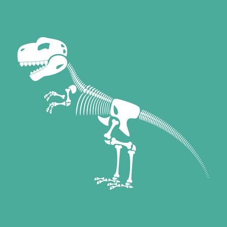 Skeleton dinosaur isolated. Dino Bones. Tyrannosaurus Skull. Prehistoric reptile Illustration