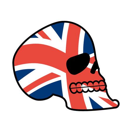 UK skull. Head of skeleton and British flag. Fan emblem Illustration