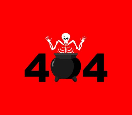 sinner: Error 404. sinner in boiler is surprise. Page not found template for web site. skeleton in pot does not know and is surprised. Page lost and found message.