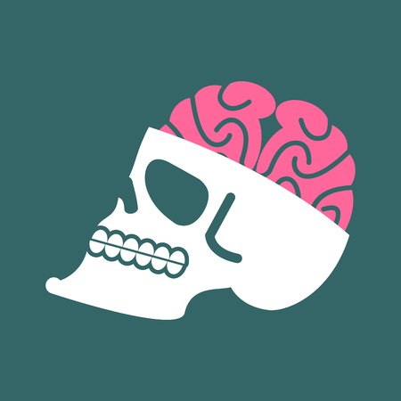 Skull with brains isolated. head of human skeleton and brain. Anatomy illustration