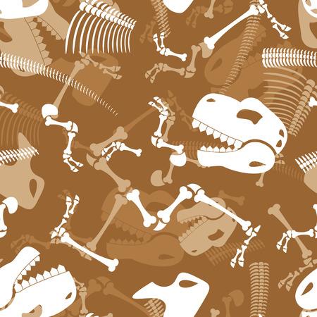 Skeleton dinosaur seamless pattern. Dino Bones ornament. Tyrannosaurus Skull pattern. Prehistoric reptile texture.