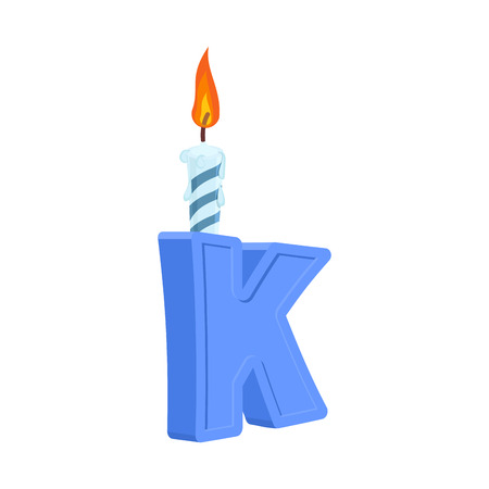 Letter K birthday font. Letter and candle. anniversary alphabet sign. Celebratory ABC