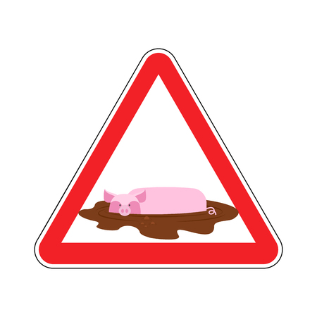 Attention unclean. warning Road sign pig in mud. Caution dirty. Illustration