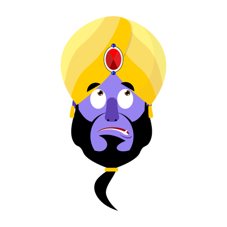 Genie Surprised Emoji. Magic ghost astonished emotion. Arabic magic spirit avatar