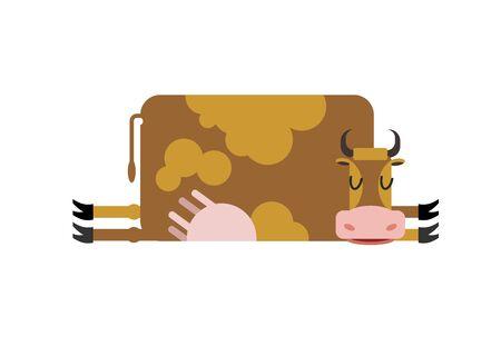 siesta: Sleeping cow. farm animal is asleep. Sleepy cattle Illustration