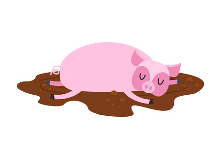 Sleeping pig in mud. Farm Animal is sleeping. Sleepy piggy in puddle