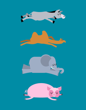 Sleeping animals set 4. Donkey and elephant. Camel and pig. Wild animal sleeps. Sleepy beast Illustration