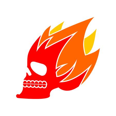 fervent: Skull fire. Head skeleton flame. flaming skull tattoo sign