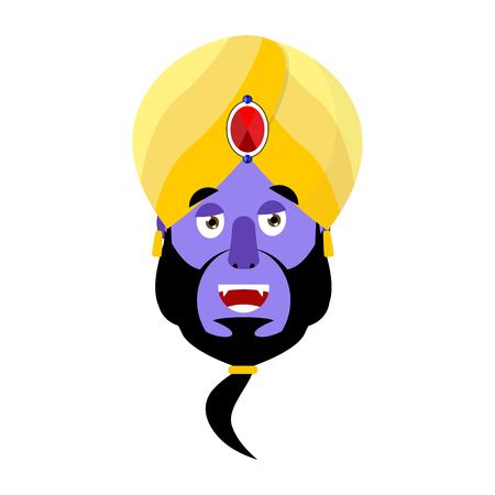 Genie happy Emoji. Magic ghost laughs emotion. Arabic magic spirit avatar