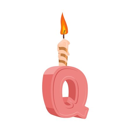 Letter Q birthday font. Letter and candle. anniversary alphabet sign. Celebratory ABC Illustration