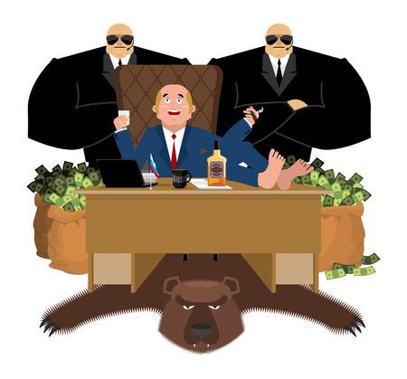 L'oligarque russe est assis à table et boit du whisky. Pour fumer un cigare. Homme riche et sac d'argent. Homme d'affaires de Russie. beaucoup d'argent. Étude. Bureau des sacs d'argent