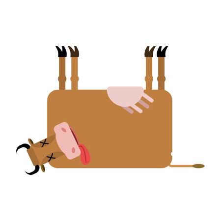 karkas: Dode koe. Boerderij dier dood. Korpsvee Stock Illustratie