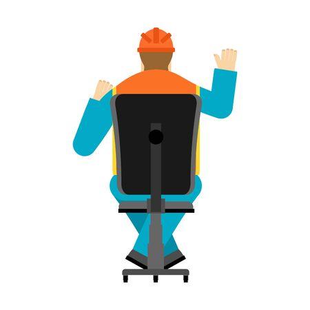 Machine operator sits on chair. Worker in helmet earning workshop.