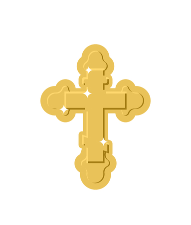 Golden Cross Isolated. Orthodox symbol of gold Illustration
