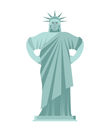 emotional stress: Statue of Liberty Angry. aggressive landmark  America. Sculpture Architecture USA