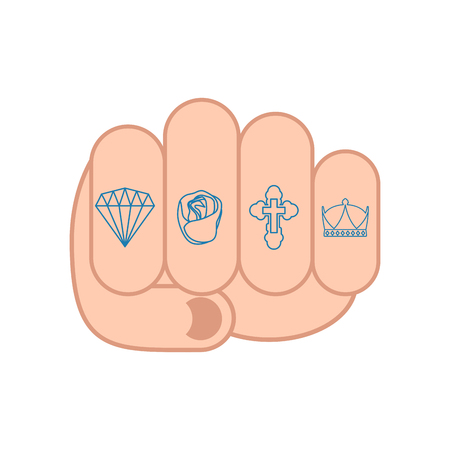 Fist with tattoos on fingers. sign Brilliant and rose. Cross and Crown