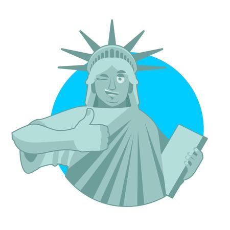Statua della Libertà Winks. thumbs up sull'orologio America. Architettura Scultura USA Vettoriali