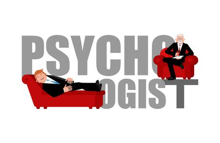 Psycholoog belettering. Raadpleging van de psychotherapeut. Couch psycholoog.