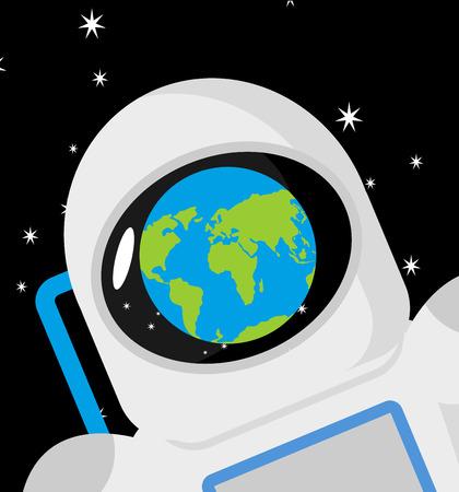 Helmet astronaut and planet earth reflection. Cosmonaut cap Illustration